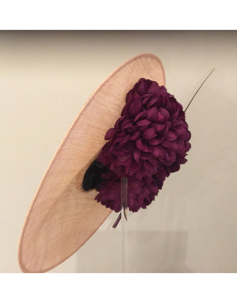 Aisling Ahern Aisling Ahern Sinimay blush saucer hat embellished with three cerise pink flowers and a burgandy quill