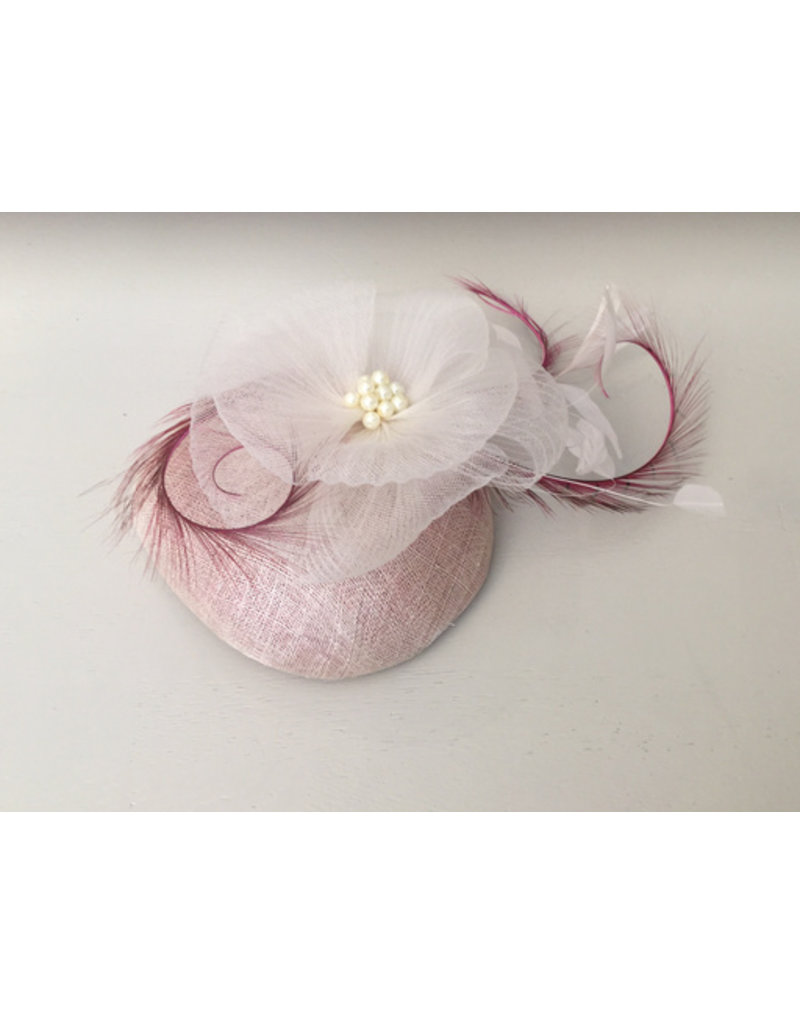 Mark Garvie Pink Sinamay Hat embellished with tulle white flower, pearls and wine feathers