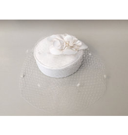 Rosalind Beere TO BUY Rosalind Beere White Pillbox hat with silk rose petals & pearls