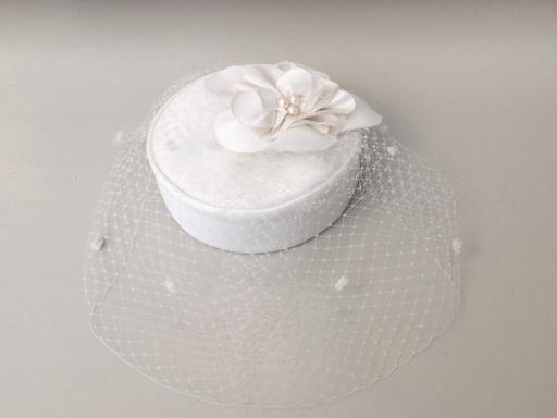 Rosalind Beere TO BUY Rosalind Beere White Pillbox hat with silk rose petals & pearls