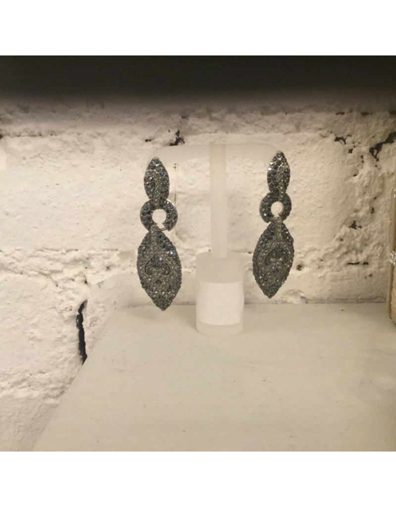 black and silver drop earring