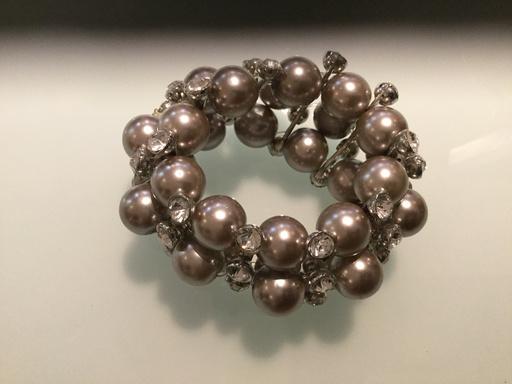 Double grey pearl & diamond cuff