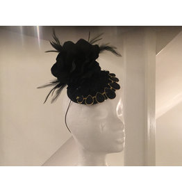 Rosalind Beere Rosalind Beere black lace Disk with black and gold drop design with large black fabric flower with feathers