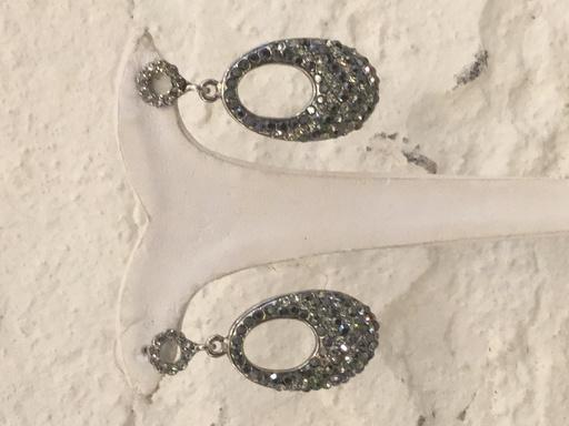 Gemini Silver oval drop earring