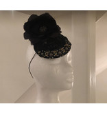 Rosalind Beere Rosalind Beere black lace disk with gold and black flower design, large black fabric flower