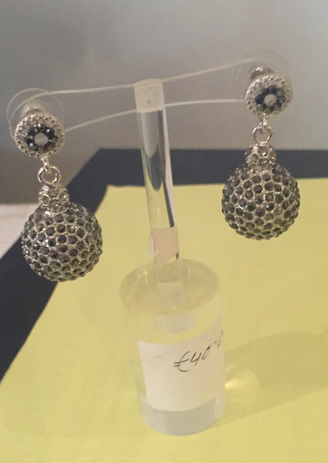 Silver Ball with black stones drop earring