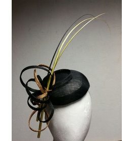 Mark Garvey Mark Garvie Black Sinamay hat with three quills and gold and black swirls