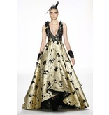 Irene Luft Gold/Black Full Length Gown