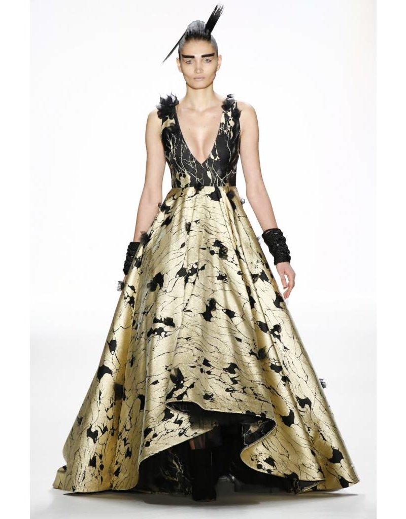 Irene Luft Gold/Black Full Length Gown