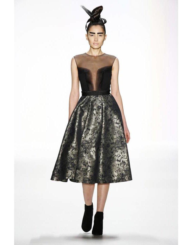 Irene Luft Black Mesh Dress with Gold Skirt