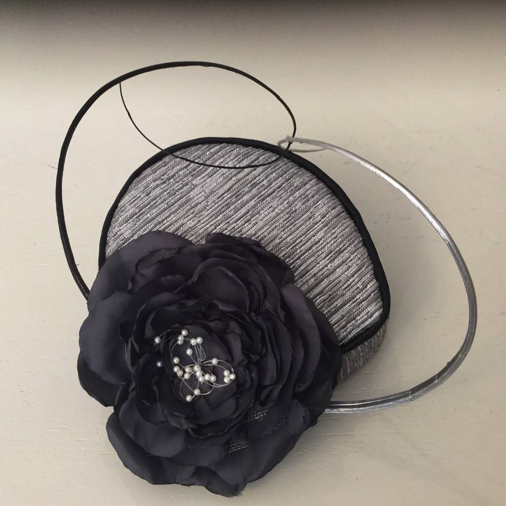 Fiona Mangan Fiona Mangan Silver/grey headpiece with grey silk and net flower with pearl embellishment