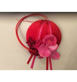 Fiona Mangan Fiona Mangan Red velvet hat with pink flowers and ribbon