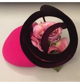 Fiona Mangan Fiona Mangan Hot pink hat with wine velvet swirl and pink flower