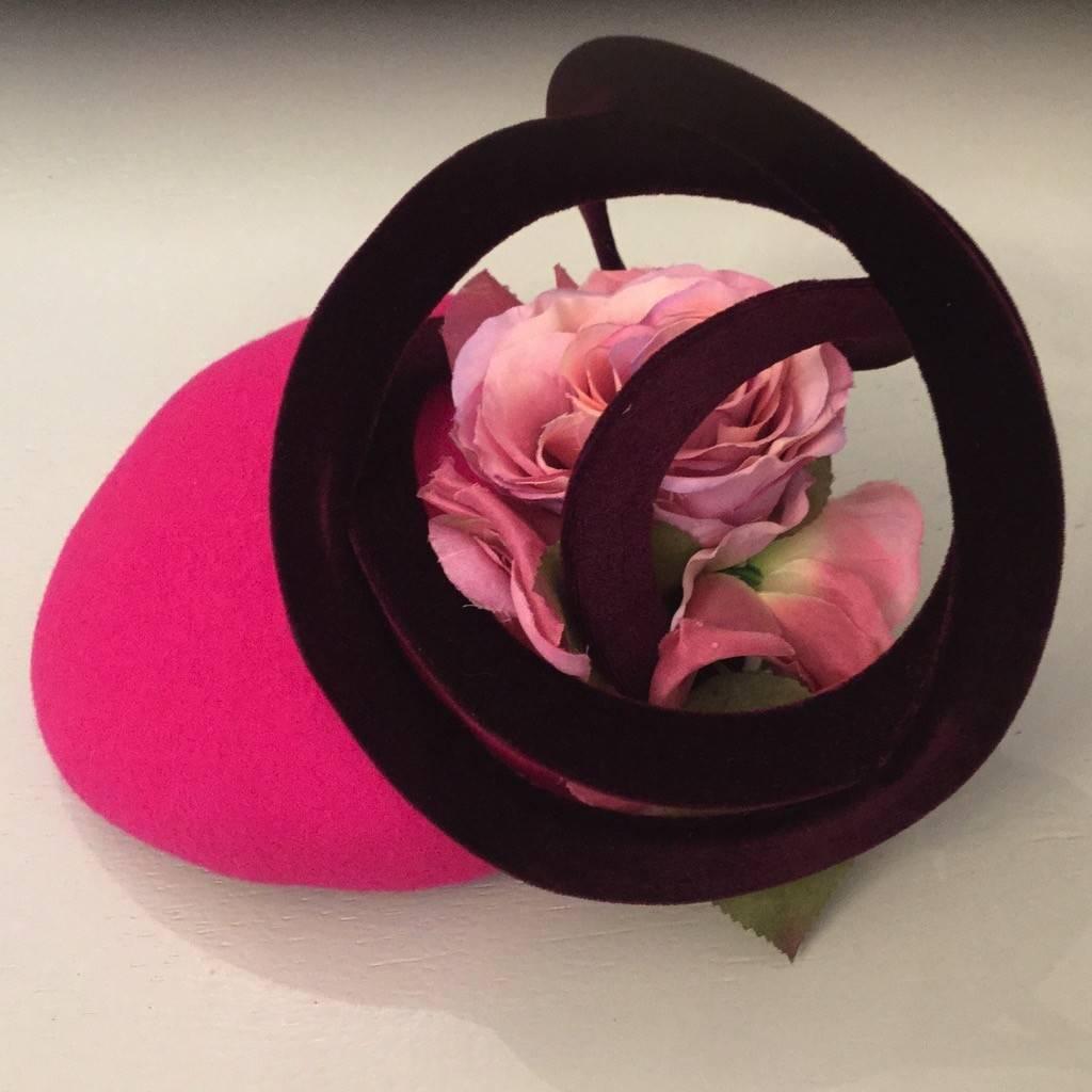 Fiona Mangan Fiona Mangan Hot pink hat with wine velvet swirl and pink flower