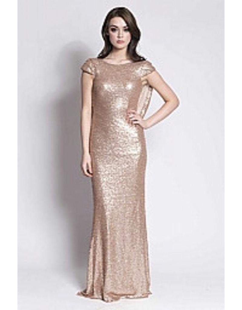 Gold sequins cowl back bridesmaid