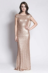 Gold sequins cowl back bridesmaid