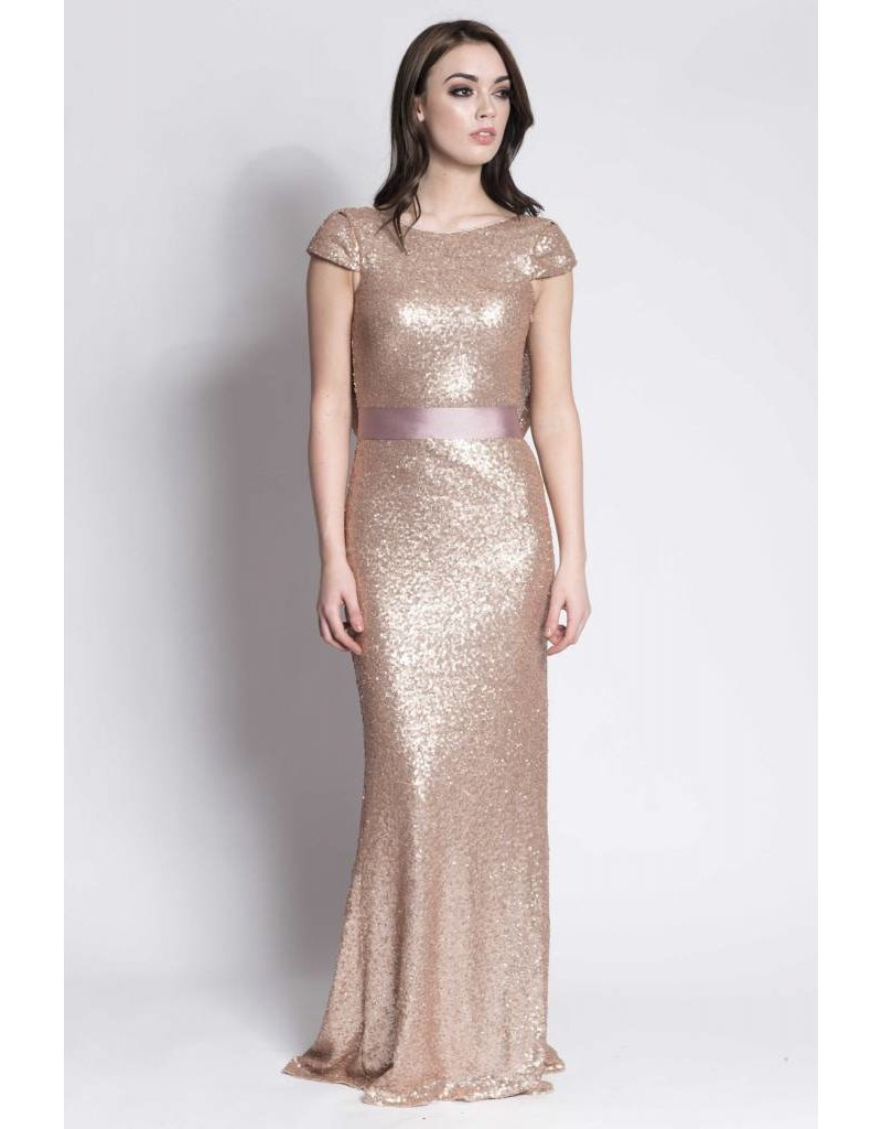 Frock N Fabulous Farrah sequin cap sleeve with cowl back
