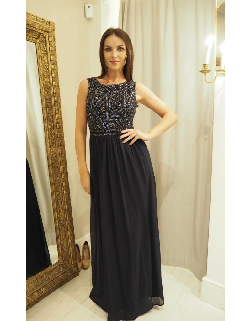 Adrianna Papel Adrianna Papell Beaded Geometric Beaded Bodice Gown