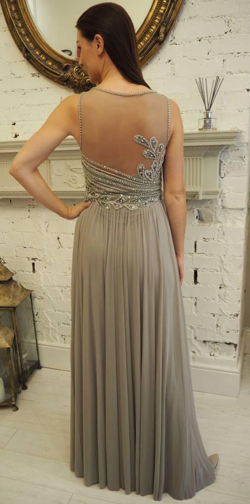 Frock N Fabulous Grey Beaded Dress