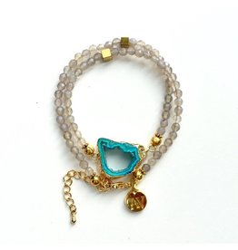Aria V Jewellery Aria V Druze Braclet/Choker Smokey Agate & Gold