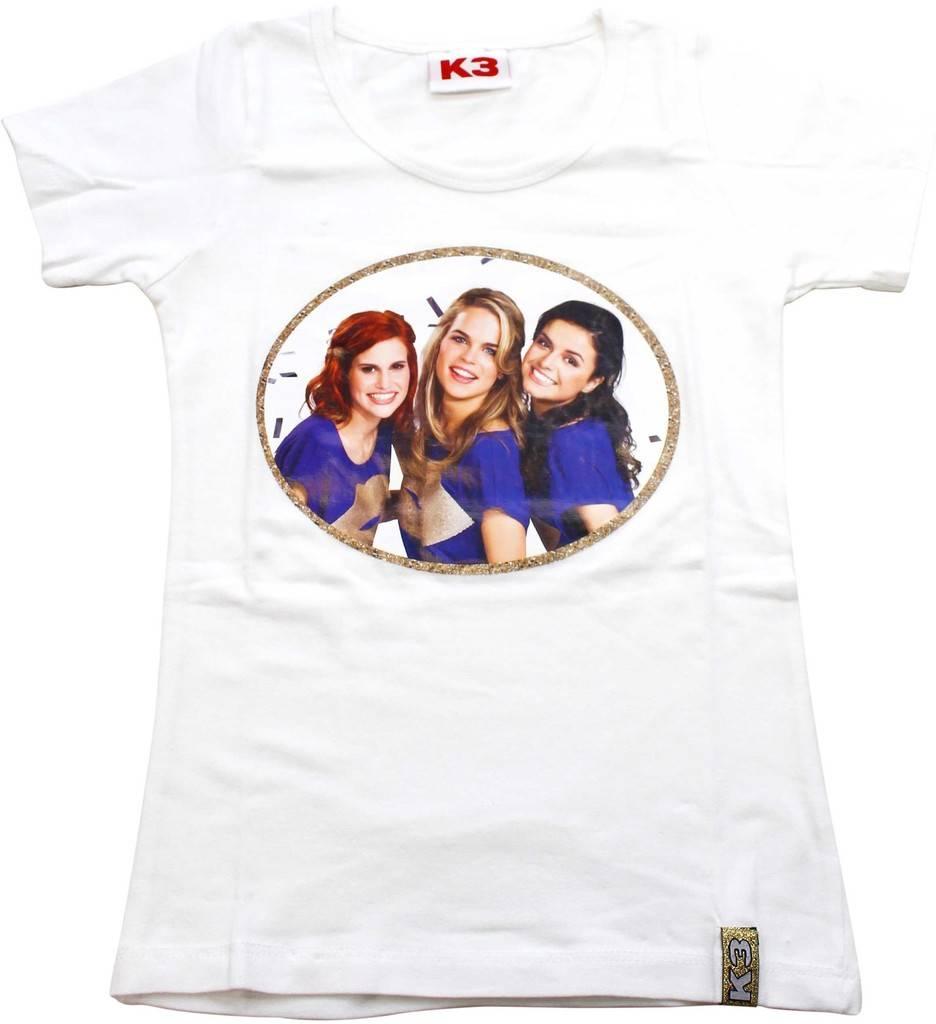 T-shirt K3 wit/goud
