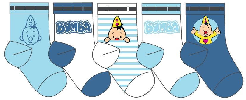 Baby sokjes Bumba: 5-pack blauw/wit