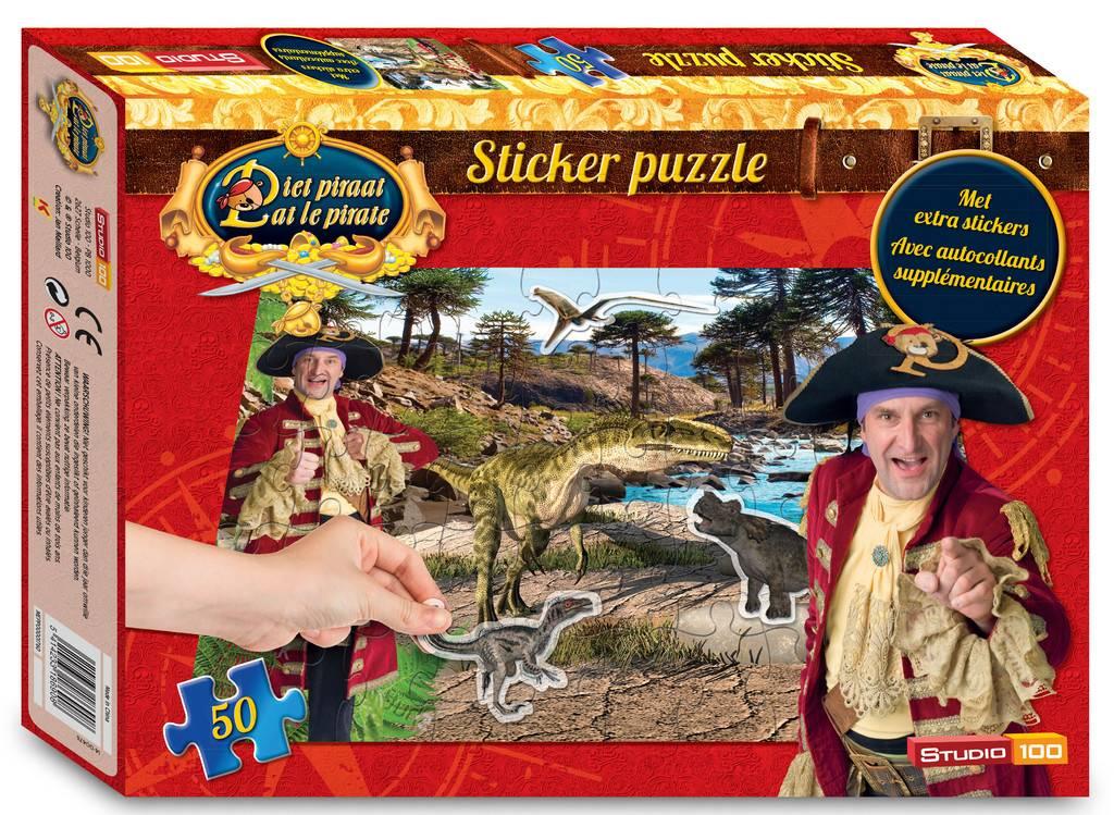 Piet Piraat Puzzel met stickers - 50 stukjes