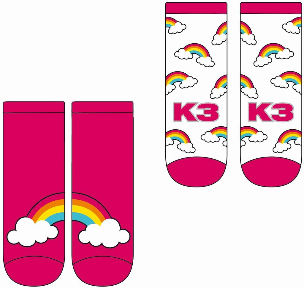 K3 Sokken 2-pack roze regenboog