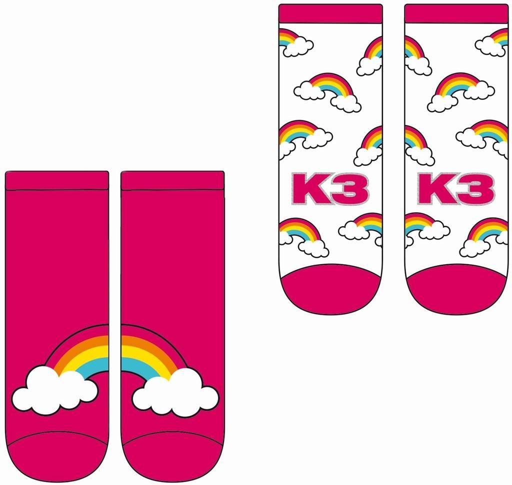 Sokken K3: 2-pack roze regenboog