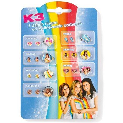 K3 bagues et boucles d'oreilles plaqué 7 ensembles