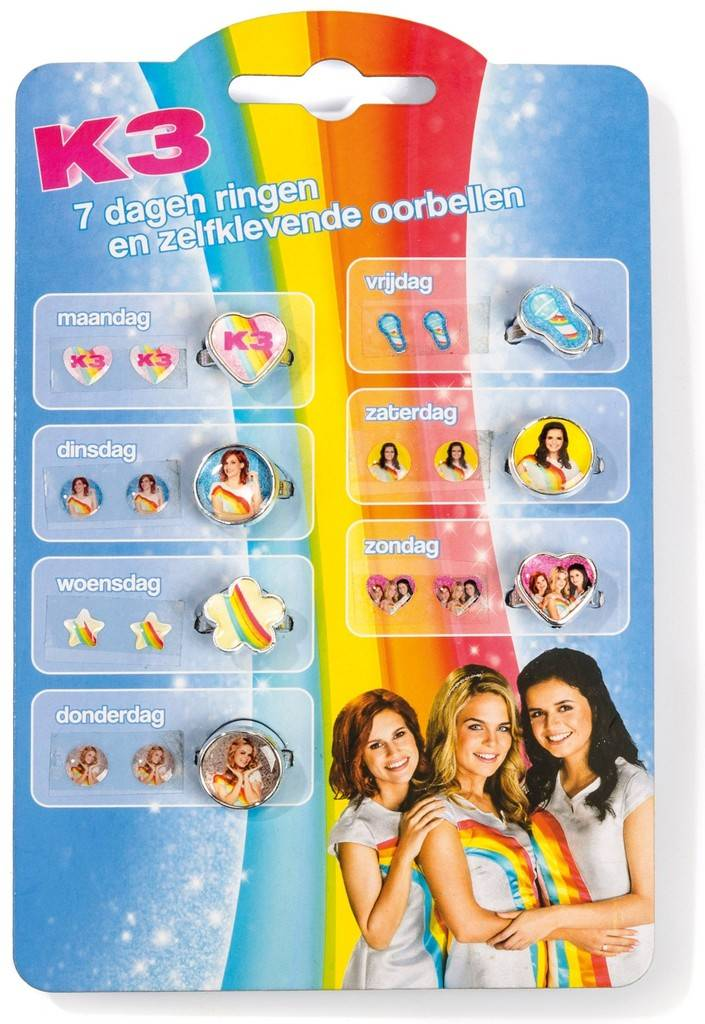 Ringen en plakoorbellen K3 ToTum: 7 sets