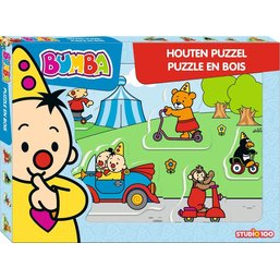 Puzzel Bumba hout voertuigen: 5 stukjes