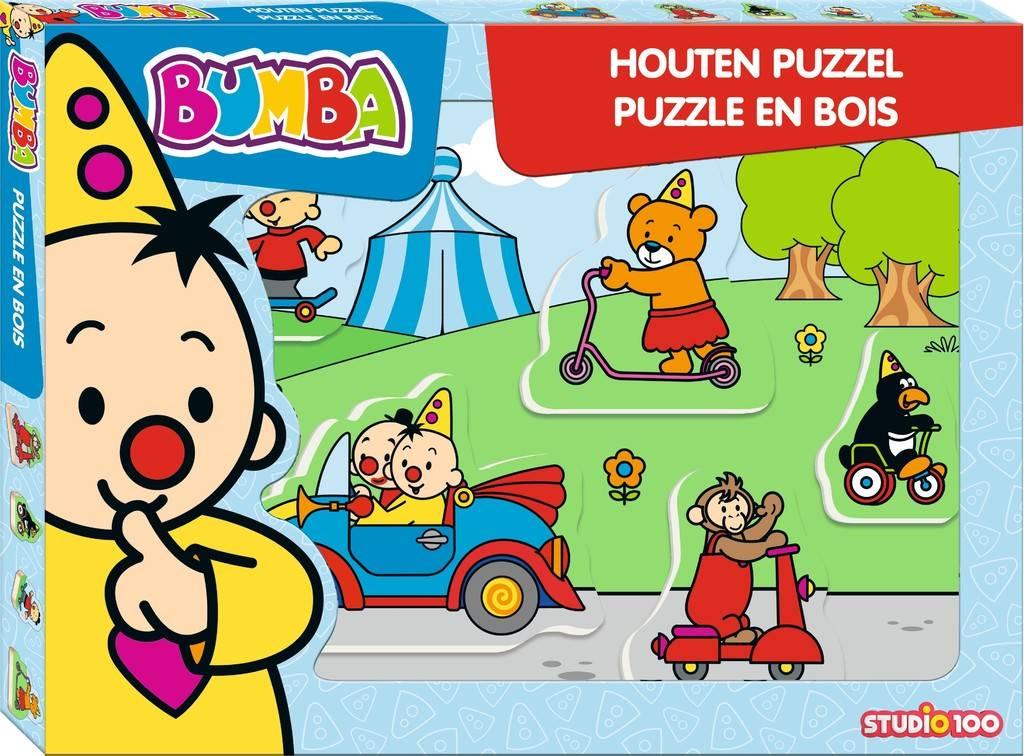 Bumba Puzzel hout - Voertuigen 5 stukjes