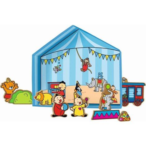 Bumba Speeldoos tent met 10 houten figuren