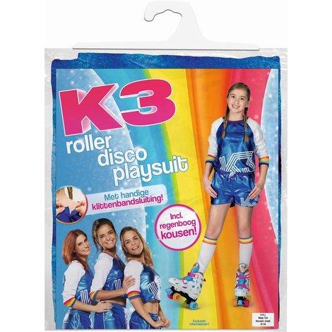 K3 verkleedpak - Roller disco playsuit met regenboog kousen