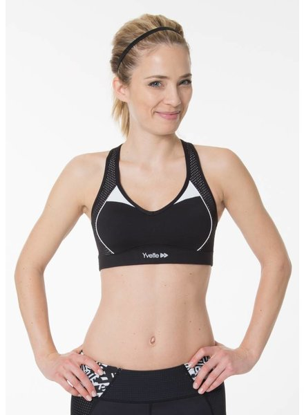 Yvette Sport-BH Slim Lines Black n White