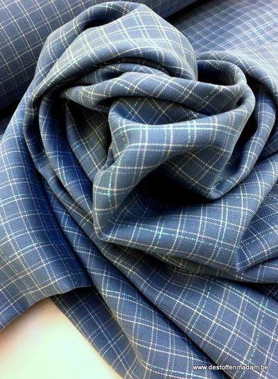 blue grid lurex katoen