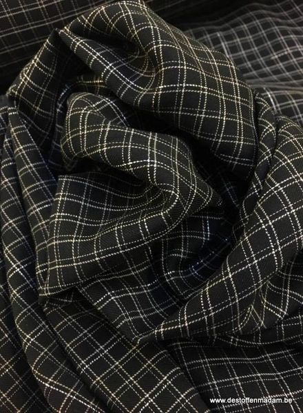 black grid lurex cotton