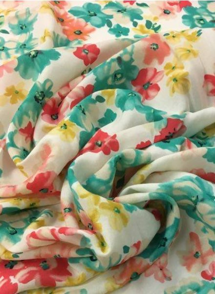 Ivory red green viscose