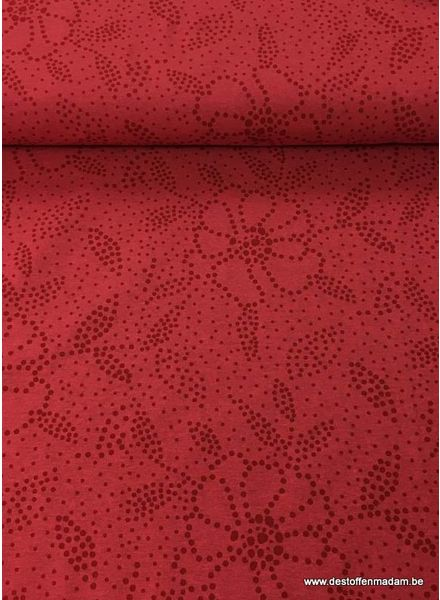 tricot - red flowers in dots