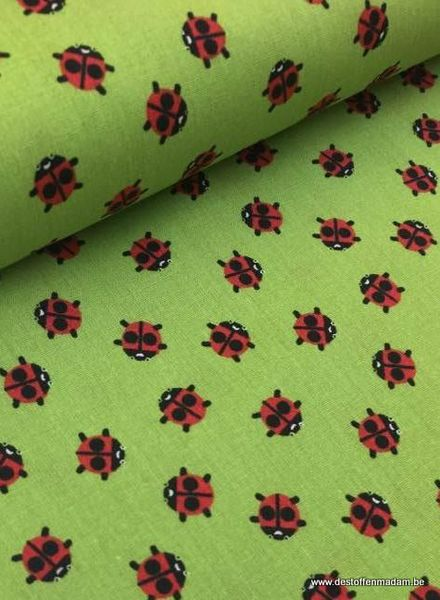 cotton - ladybugs green