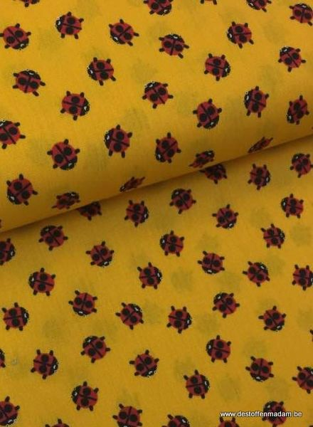 cotton -  ladybugs yellow