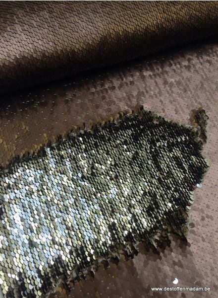 sequins fabric -  silver/bronze