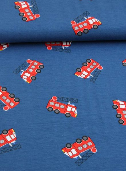 knit fabric - fire trucks