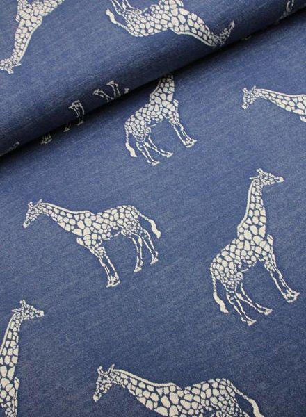 gebreide french terry - giraf blauw