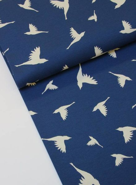 birds donkerblauw interlock