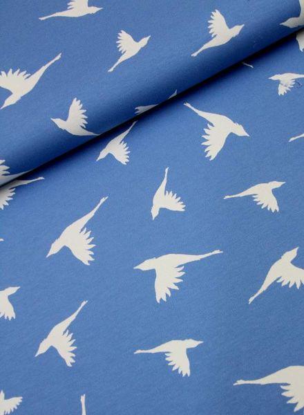interlock tricot - birds blauw