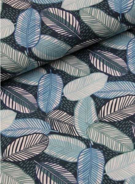 LMV viscose - blue leaves