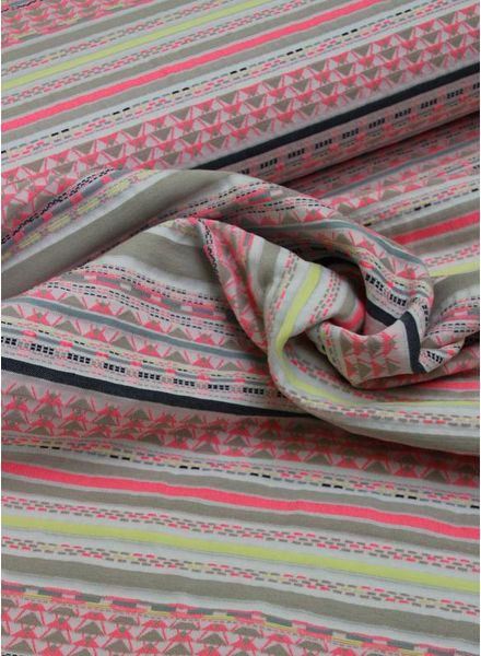 geweven jacquard - fluo yellow/pink