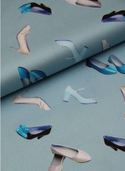 poly katoen - fancy shoes blue